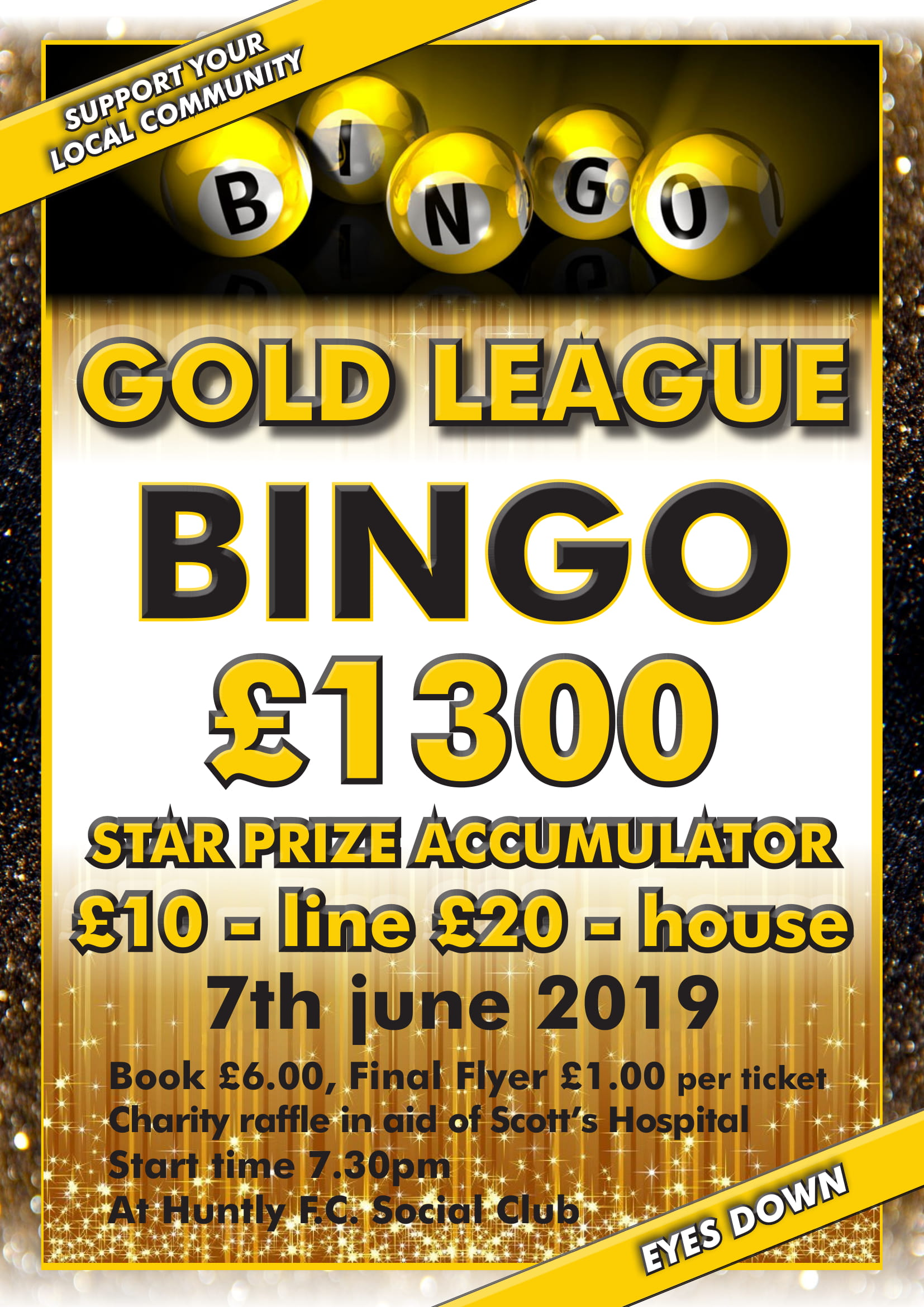 Gold League Bingo: £1300 star prize accumulator