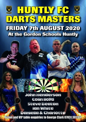 Huntly FC Darts 2020 A4 poster main image from photoshop